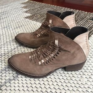 Suede cut out booties